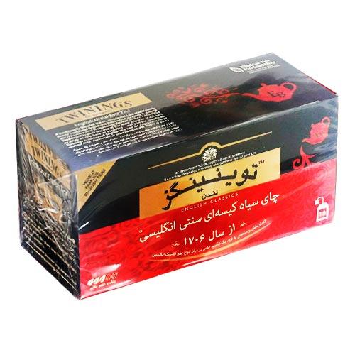 چای سیاه کیسه ای توینینگز سنتی انگلیسی بسته 25 عددی - چای سیاه کیسه ای تویینینگز سنتی انگلیسی بسته 25 عددی