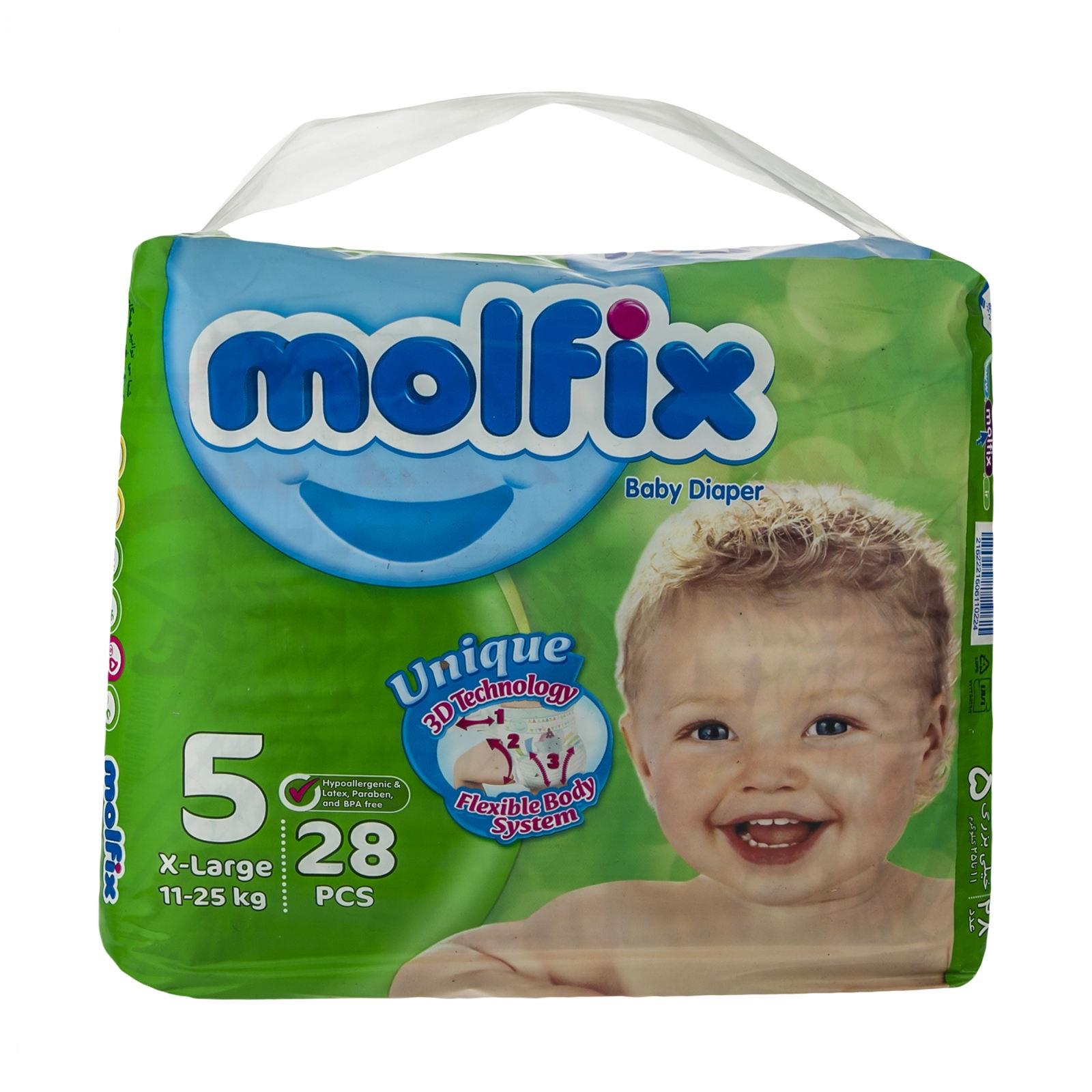 پوشک بچه سایز پنج 28 عددی مولفیکس XL - پوشک بچه سایز پنج 28 عددی مولفیکس XL