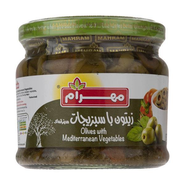 زیتون با سبزیجات مدیترانه ای مهرام مقدار 320 گرم - زیتون با سبزیجات مدیترانه ای مهرام مقدار 320 گرم