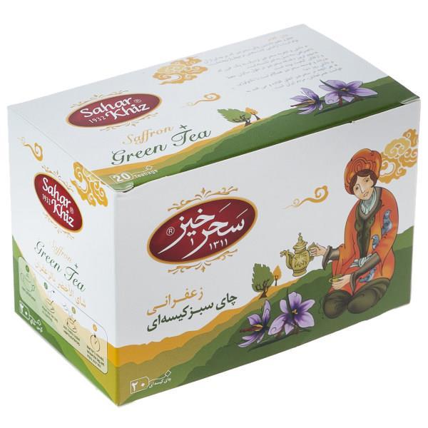چای سبز کیسهای زعفرانی سحرخیز بسته 20 عددی - چای سبز کیسهای زعفرانی سحرخیز بسته 20 عددی