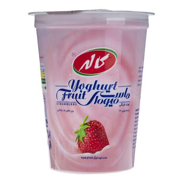ماست میوه ای با طعم توت فرنگی کاله مقدار 450g  - ماست میوه ای با طعم توت فرنگی کاله مقدار 450 گرم