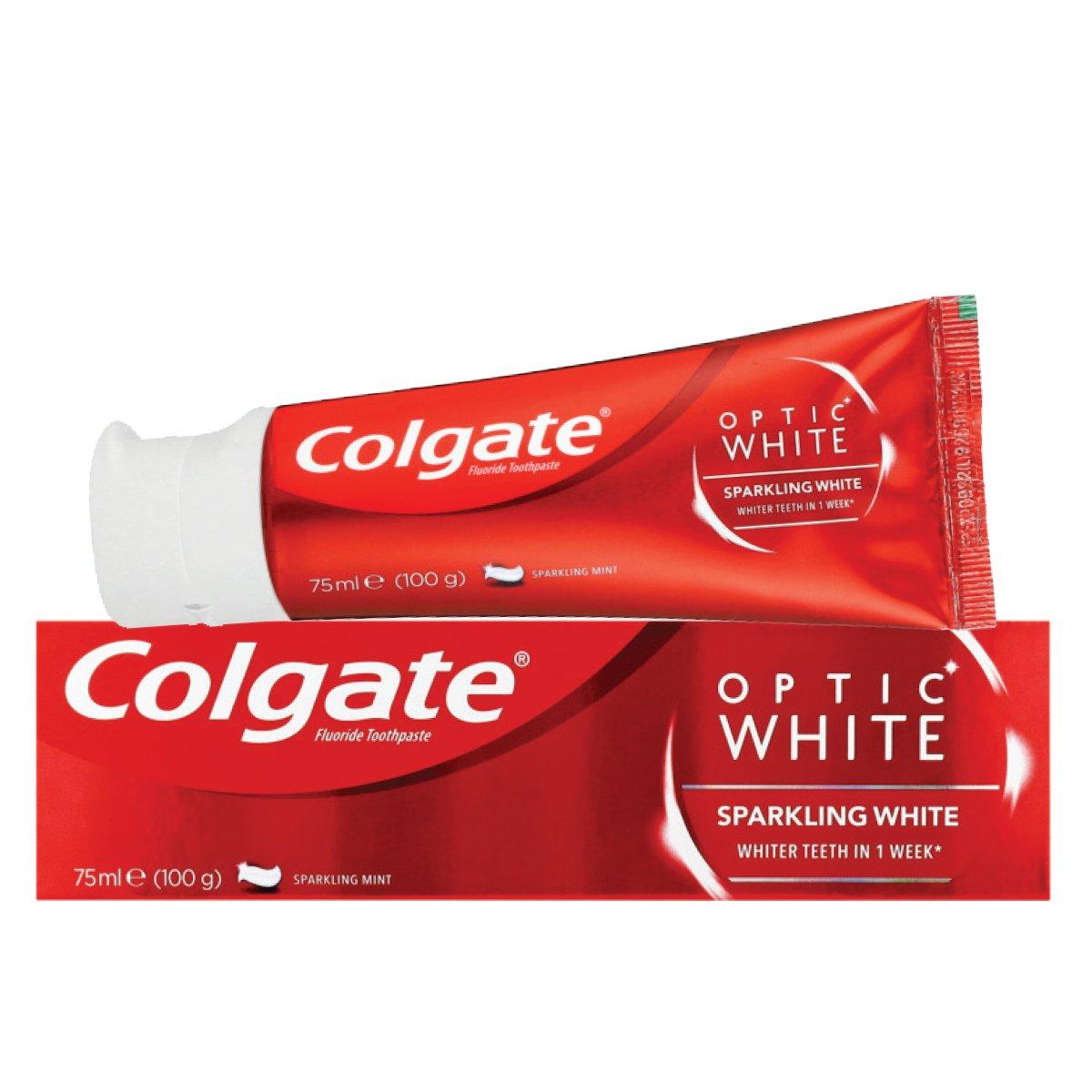 خمیر دندان سفید کننده کولگیت Colgate مدل Optic White - خمیر دندان سفید کننده کولگیت Colgate مدل Optic White