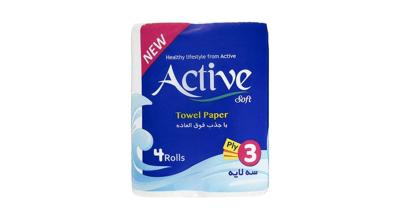 دستمال حوله ای کاغذی اکتیو بسته 4 عددی  - دستمال حوله ای کاغذی اکتیو بسته 4 عددی