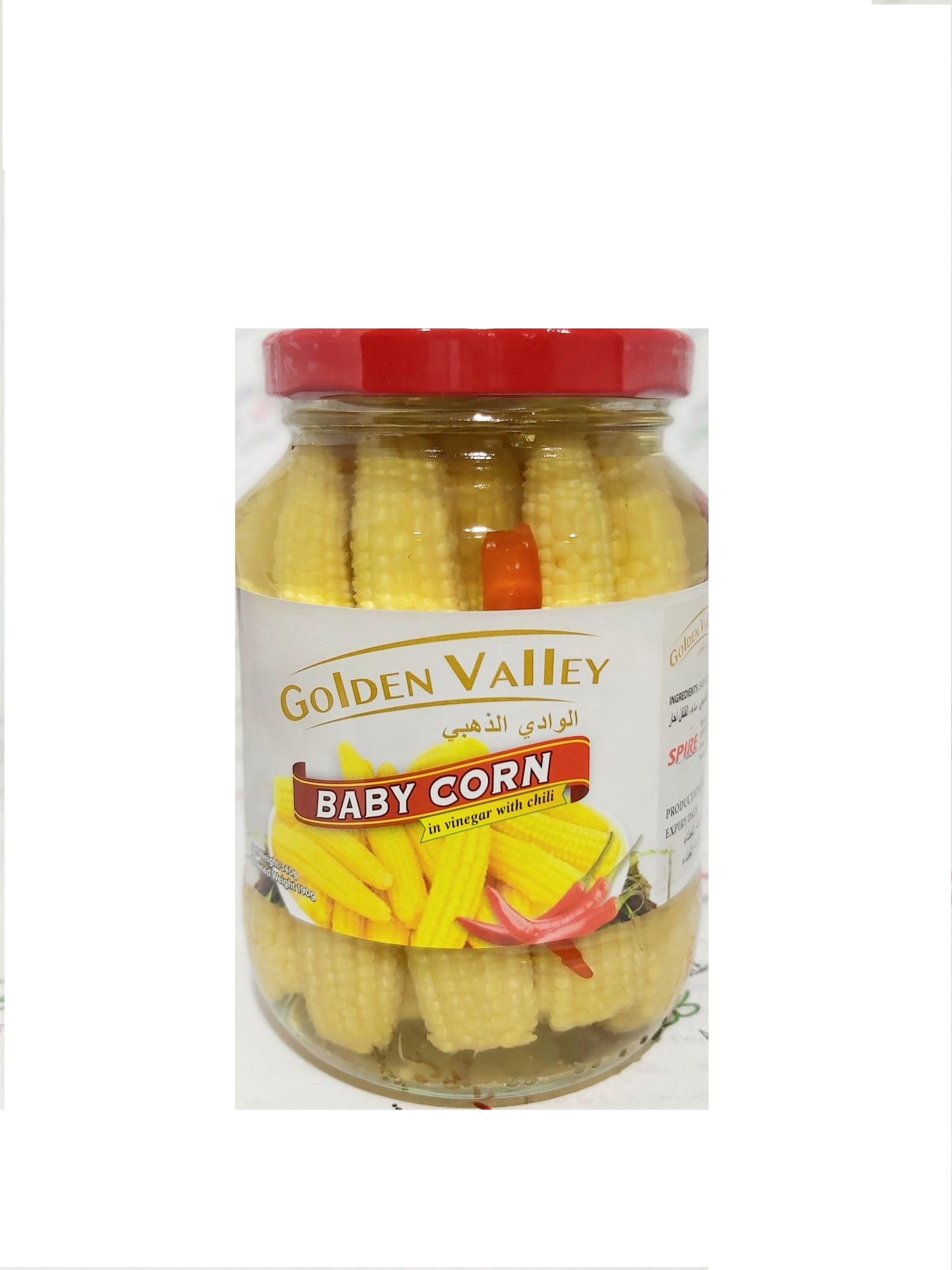 ذرت بیبی کورن فلفلی 190 گرم گلدن GOLDEN VALLEY - ذرت بیبی کورن فلفلی 190 گرم گلدن GOLDEN VALLEY